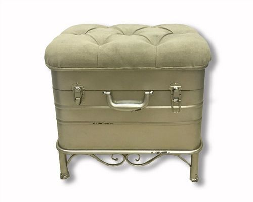 50cm Iron French Style Ottoman Storage Stool Hinged Fabric Lid